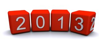 New year 2013 changing 3D rander. On white background royalty free illustration