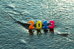 New year 2013 and Christmas. New year 2013 on the beach Stock Photography
