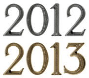 New year 2013 is coming concept - metal numbers 2012 and 2013. Over white background Stock Images