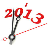 New year 2013 concept clock. Closeup on whte background Royalty Free Stock Photos