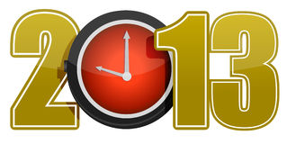 New year 2013 concept with red clock. Illustration Stock Image