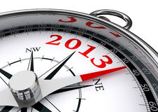 New year 2013 conceptual compass. New year 2013 indicated by conceptual compass on white background Stock Photo