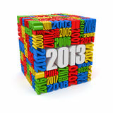 New year 2013.cube built from numbers. 3d Stock Images