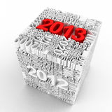 New year 2013. Cube of many year numbers. Royalty Free Stock Image