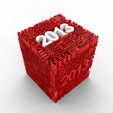 New year 2013. Cube of many year numbers. Red and white Royalty Free Illustration
