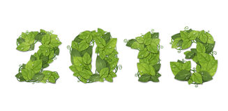 New year 2013. Date lined green leaves. With drops of dew. Isolated on white background stock illustration