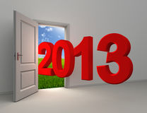 New year 2013 enter open white door. With field and sky background Royalty Free Stock Photo