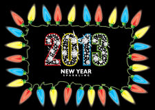 New year 2013 fairy lights. Bright fairy lights with 2013 new year in diamonds vector illustration