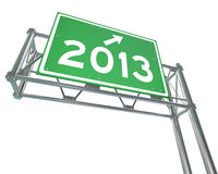 New Year 2013 on Freeway Sign - Isolated. A green freeway sign with the new year 2013 on it stock illustration