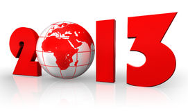 New year 2013 with globe. New year 2013 red number and globe on white background. clipping path included Stock Image
