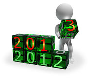 New Year 2013 on green cubes Stock Photos