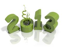 New year 2013 in green numbers with bamboo Royalty Free Stock Images