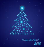 New year 2013 greeting card. Star Christmas tree vector illustration