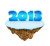 New Year 2013 levitate island. Royalty Free Stock Photos