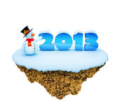 New Year 2013 levitate island. Royalty Free Stock Photo