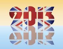 New Year 2013 London England Flag Illustration. Happy New Year London England 2013 Silhouette with Union Jack Flag Illustration Stock Photos
