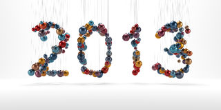 New year 2013 made of christmass balls isolated Stock Photography