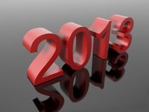 New year 2013 in numbers. On a reflective black surface Royalty Free Stock Images