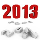 New Year 2013 over the past ones - a 3d image. New Year 2013 over the past ones, a 3d image stock illustration