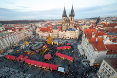 New Year 2013 in Prague. PRAGUE - DECEMBER 31: Unidentified people gather in the old town square to celebrate the New Year 2013 on December 31, 2012 in Prague Stock Photos