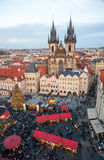 New Year 2013 in Prague. PRAGUE - DECEMBER 31: Unidentified people gather in the old town square to celebrate the New Year 2013 on December 31, 2012 in Prague Royalty Free Stock Photo
