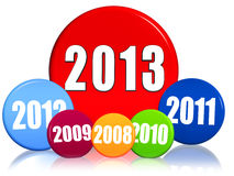 New year 2013, previous years, colored circles. 3d colored circles with figures - new year 2013 and previous years, business concept Royalty Free Stock Image