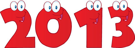 New Year 2013 Red Funny Numbers. Cartoon Characters Stock Photography