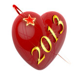 New year 2013, red heart and flying star Royalty Free Stock Photo