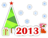 New Year 2013 stickers. New Year 2013 stickers with christmas tree, snowflakes and gift. vector vector illustration