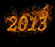 New Year 2013 text made of fire. On black background royalty free illustration