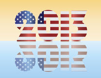 New Year 2013 USA Flag Illustration. Happy New Year USA 2013 Silhouette with American Flag Illustration Stock Images