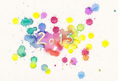 New Year 2013 watercolor painting Stock Photography