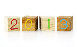 New Year 2013 wood cubes. On white Stock Photography