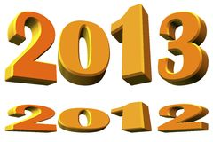 New year 2013 and about the year 2012, 3D model Royalty Free Stock Image