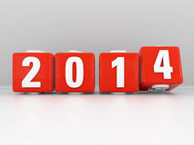 New Year 2014. New Year message with red cubes inscribed with white numbers 2014 and the three turning to four at the New Year with slight reflection Stock Illustration