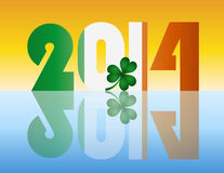 New Year 2014 Ireland Flag Illustration. Happy New Year Ireland 2014 Flag Silhouette with Irish Shamrock Leaf Illustration Stock Photography