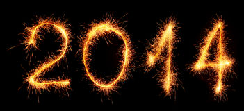 New Year 2014 Made With Sparklers. Royalty Free Stock Image