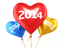 New year 2014 and old years balloon concept. (isolated on white and clipping path Stock Photos