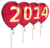 New Year 2014 Party balloons Merry Christmas. New Year 2014 balloons party holiday decoration. Winter celebration helium balloon. Future beginning calendar date Royalty Free Stock Photography