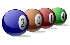 New Year 2014 on Pool Balls. New year 2014 on colored pool balls royalty free illustration