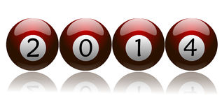 New Year 2014 on Red Pool Balls. New year 2014 on red colored pool balls stock illustration