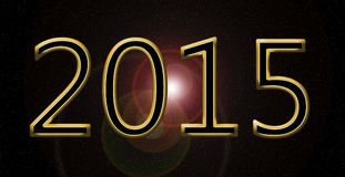 New year 2015. Golden happy new year 2015 card Royalty Free Stock Images