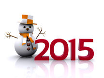 New year 2015. 3D illustration - snowman to welcome the new year 2015 Stock Photo