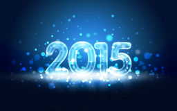 New Year 2015 Card with Neon Digits. Impressive New Year 2015 card with Neon digits and snowfall Stock Photos