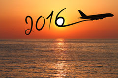 New year 2016 drawing by airplane Stock Image