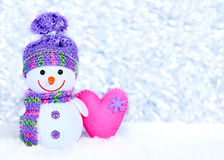 New Year 2016. Happy Snowman On Snow With Heart Royalty Free Stock Photo