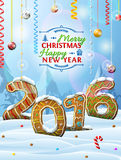 New Year 2016 In Shape Of Gingerbreads In Snow Stock Photography