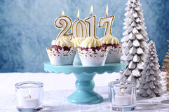 New Year 2017 Cupcakes On A Winter Theme Table Setting Royalty Free Stock Photography