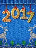 New Year 2017 In Shape Of Gingerbread Against Knitted Background Stock Photos