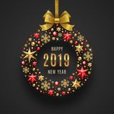 New Year 2019 Illustration. Abstract Holidays Bauble Made From Stars, Ruby Gems Golden Snowflakes, Beads And Glitter Gold Stock Photos